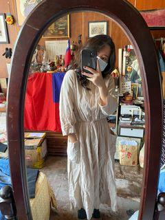 【二手/實穿】正韓米色棉麻洋裝