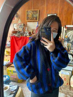 【二手/實穿】寶藍配黑古著外套