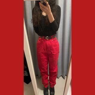 古著紅色高腰直筒褲