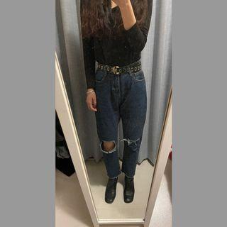 高腰直筒牛仔褲