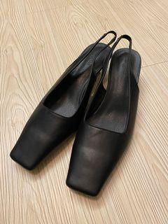 全新 24.5 復古 方頭 低跟 包頭涼鞋