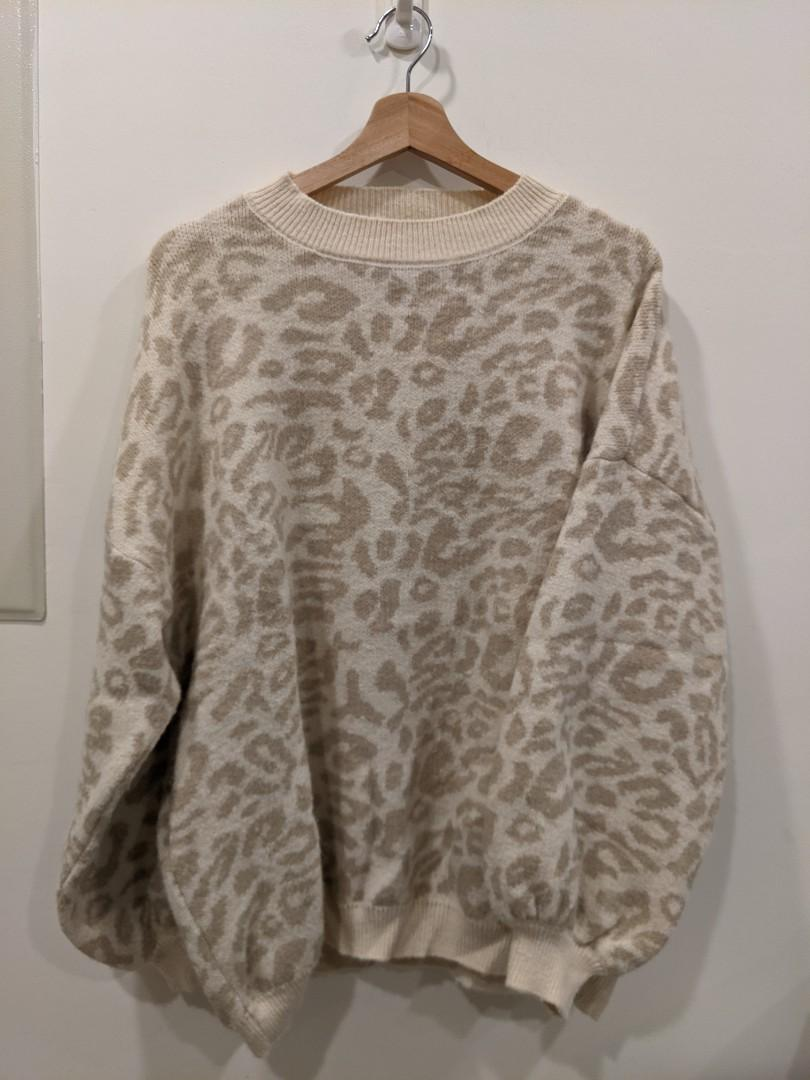 正韓 豹紋針織毛衣(質感很好)不會刺很舒服