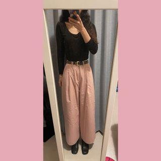 古著 淺粉色高腰直筒寬褲