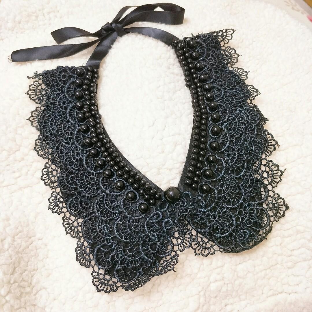 黑色蕾絲繫帶脖飾 日系領圍項鏈 手作珠釦緞帶假領子 美好生活的儀式感 歌德 #海龜