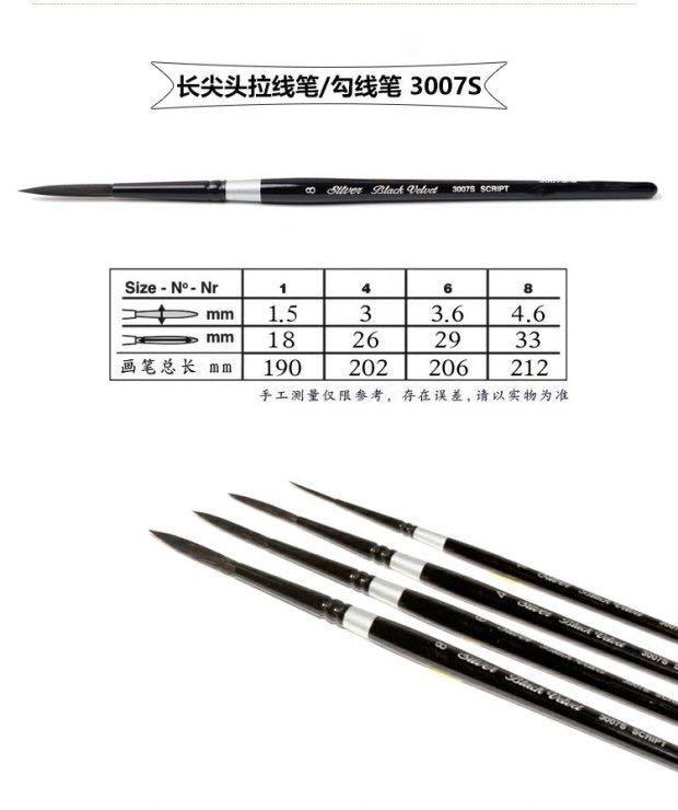 BlackVelvet黑天鹅水彩拉線花體字水彩筆Script Liner 3007S