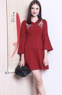 BNWT Neonmello red embroidered dress