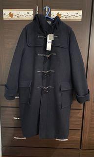 [全新]GU羊毛混紡長版牛角釦大衣XL