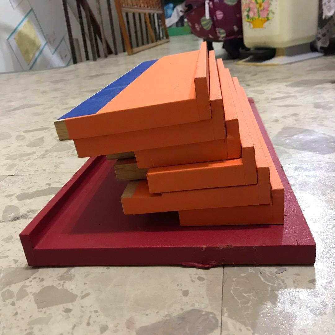 L型 純木板 多功能置物層板 分層板 層板架 橘色 紅色 材料