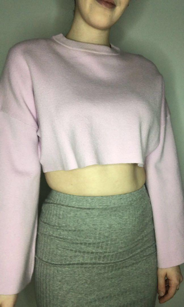 Lilac Sweater Crop Top