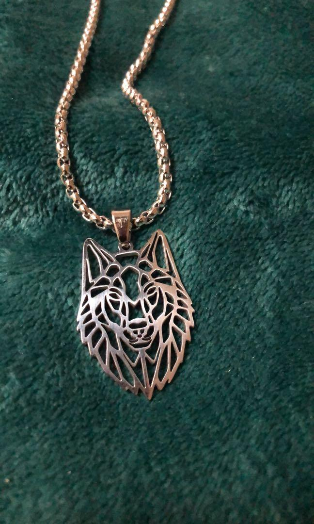 Men's Wolf Water Proof Stainless Steel Necklace