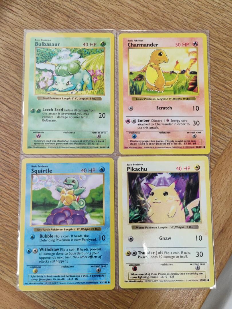 Base Set Pokemon Cards Pikachu Charmander Squirtle Bulbasaur GEM MINT