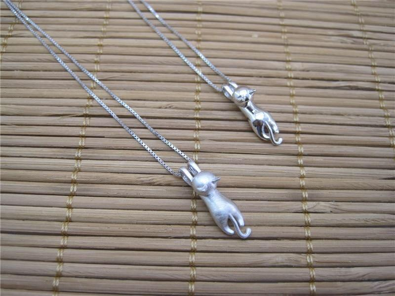 Sterling Silver Stamped Cat Necklace
