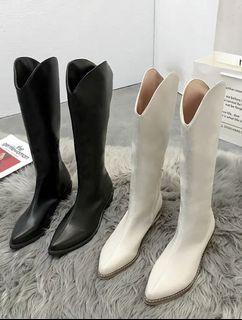 霧面皮革牛仔尖頭長靴(白色)