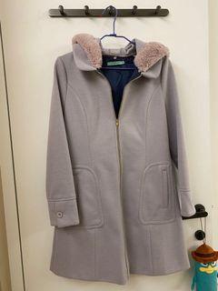芋紫色長版毛絨連帽大衣