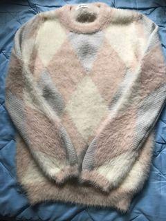 超柔軟 粉色格紋毛毛上衣