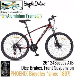 """Aluminium MTB / Mountain Bike * 26"""", 24Speeds, Disc Brakes & Front Suspension * Brand new PHOENIX bicycle (mud guards offer, add $6)"""