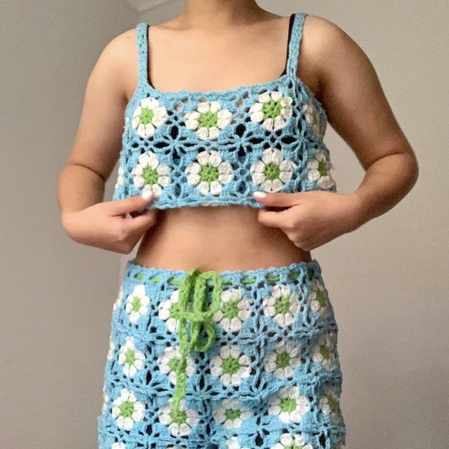 Baby Blue Daisy Crochet Co Ord