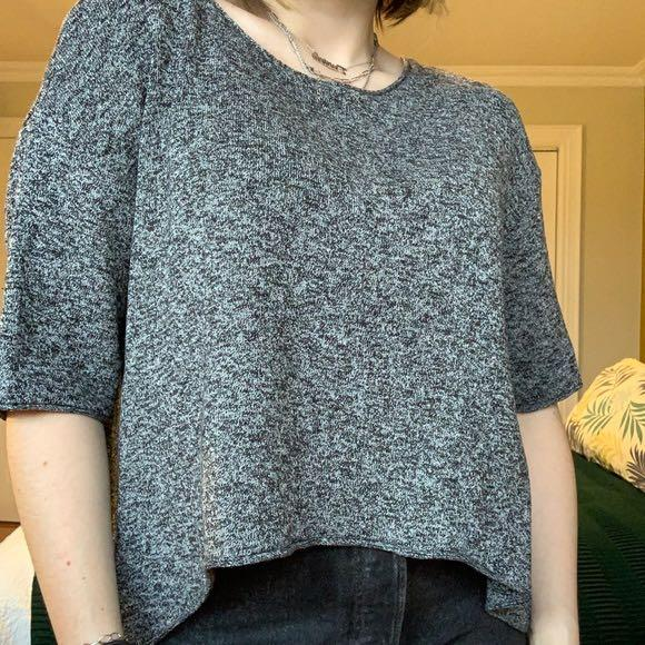 black and white knit t-shirt