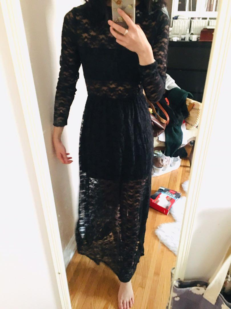 Black lace lined maxi dress