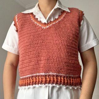 Crochet Caramel Latte Vest.
