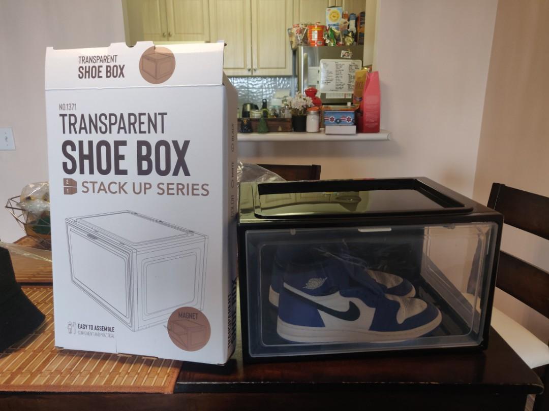 Drop front magnetic shoe box