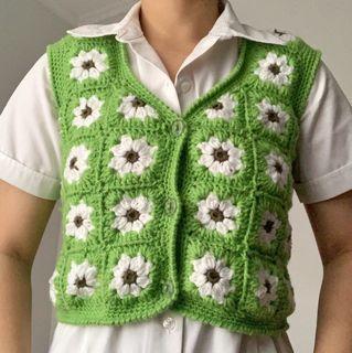 Funky Apple Green Button up crochet vest