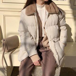 現貨杏L♡韓系翻領絨毛抽繩收腰舖棉外套(A1980)