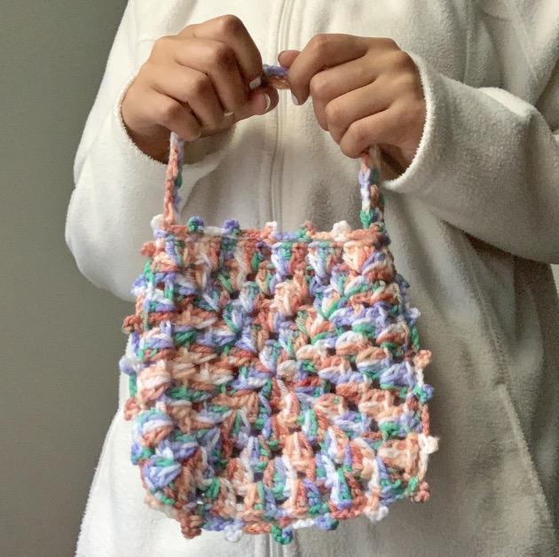 Multicolor crochet mini bag