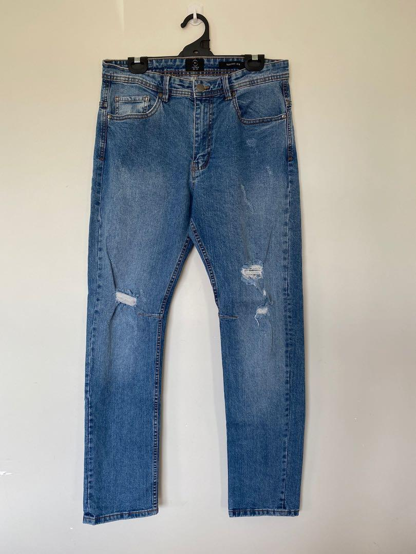 Rips Blue Tapered Leg Jean