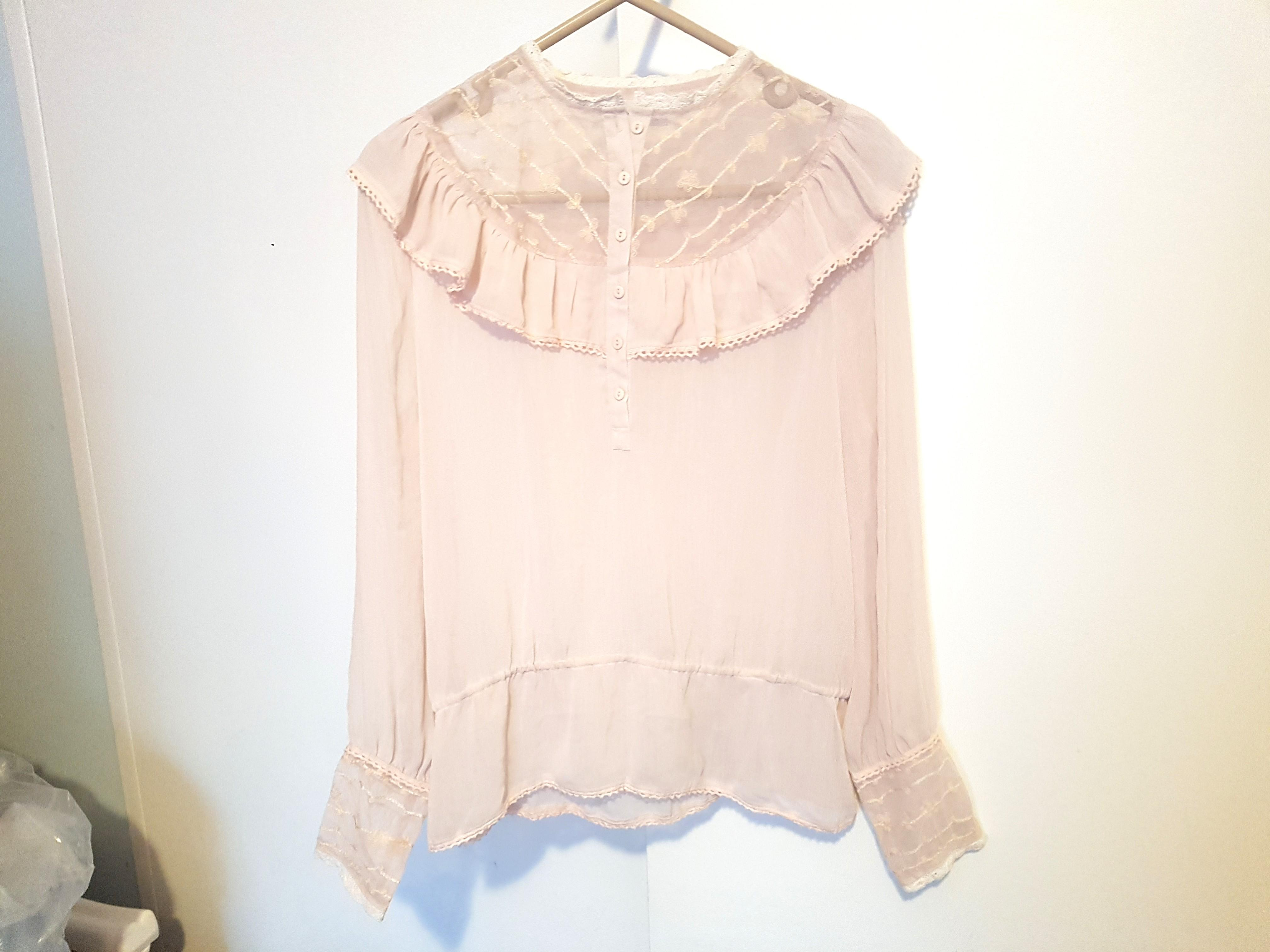Shheer lace frills vintage style blouse shirt
