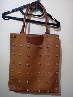 Studded Tote Bag - Brown