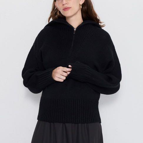 ZARA QUARTER KNIT WOOL ZIP