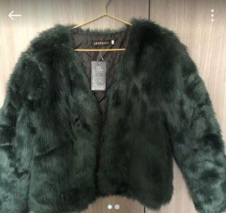 墨綠仿皮草外套