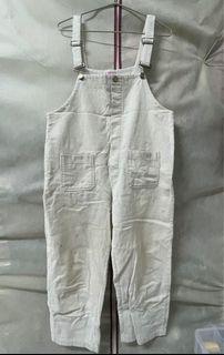 二手🐇 米白燈芯絨吊帶褲