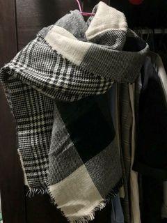 雙面 格紋 千鳥格 圍巾  #保暖