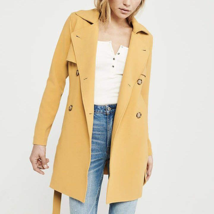 Abercrombie & Fitch Yellow Trench Coat Size XXS