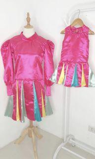 Mother and Daughter Bright Colorful Silk Dress