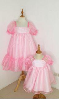 Mother and Daughter Twinning Pink Babydoll Organza Dress