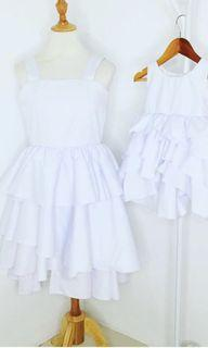 Mother and Daughter White Layered Dress
