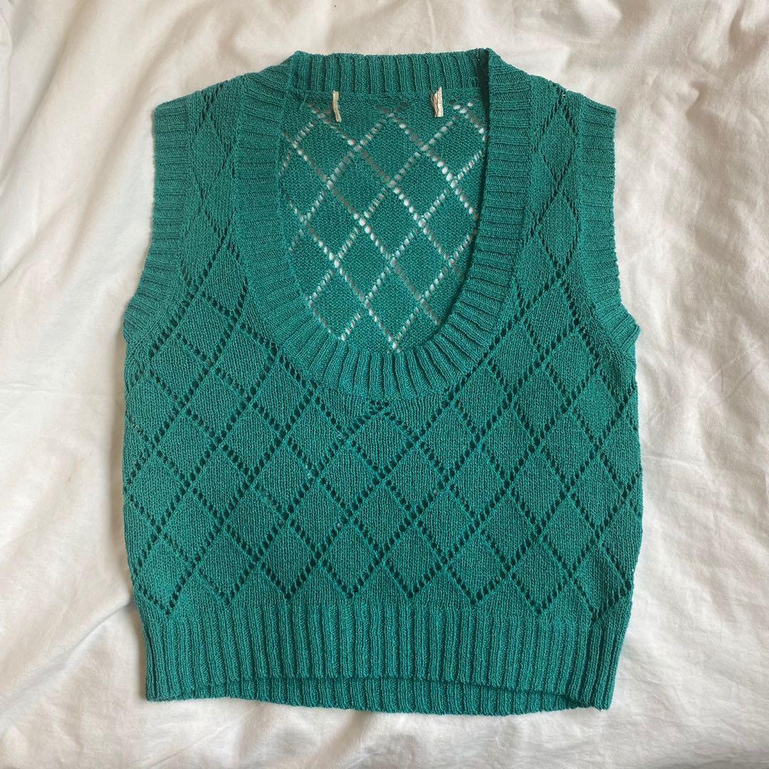 turquoise / blue wide U neck sweater vest
