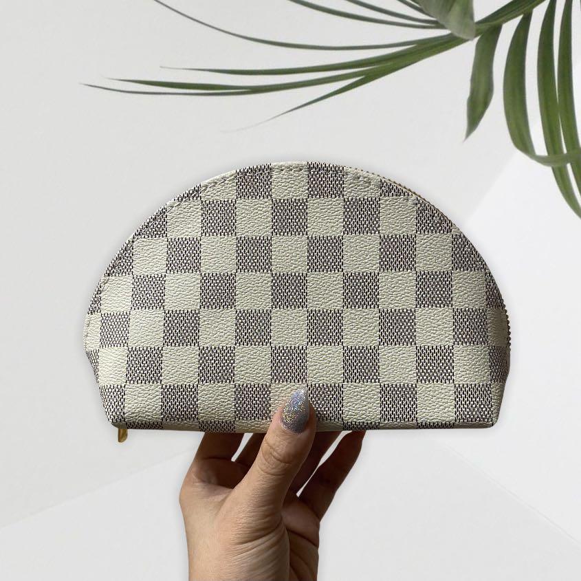white checkered damier azur cosmetic bag