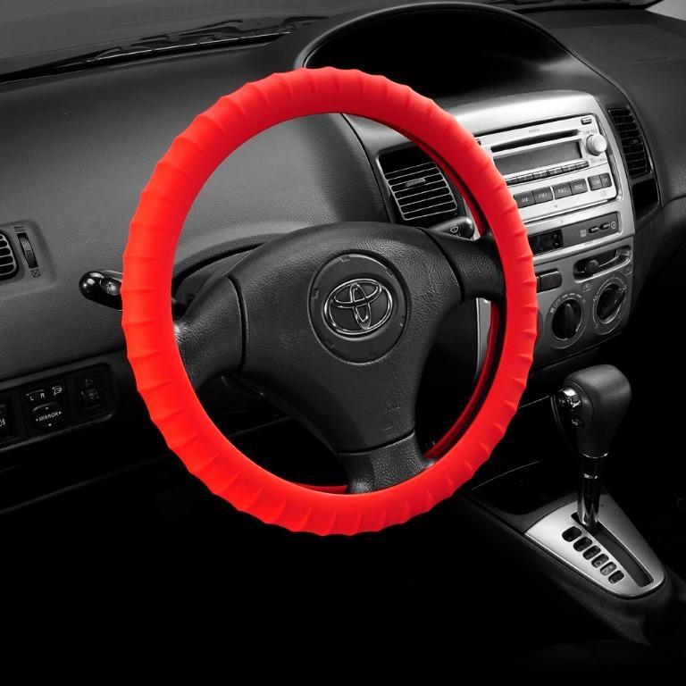 汽車方向盤矽膠套-【紅色】 可伸縮 方向盤套 方向盤皮套