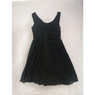 [台北東區]黑色蕾絲A字短洋裝