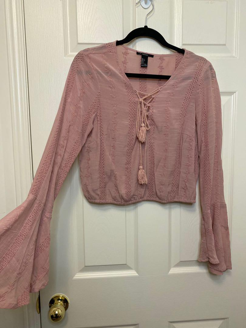 Cropped Bell Sleeve Top