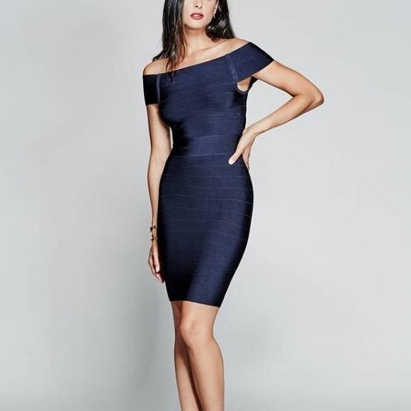 Marciano Off the Shoulder Bodycon Bandage Dress