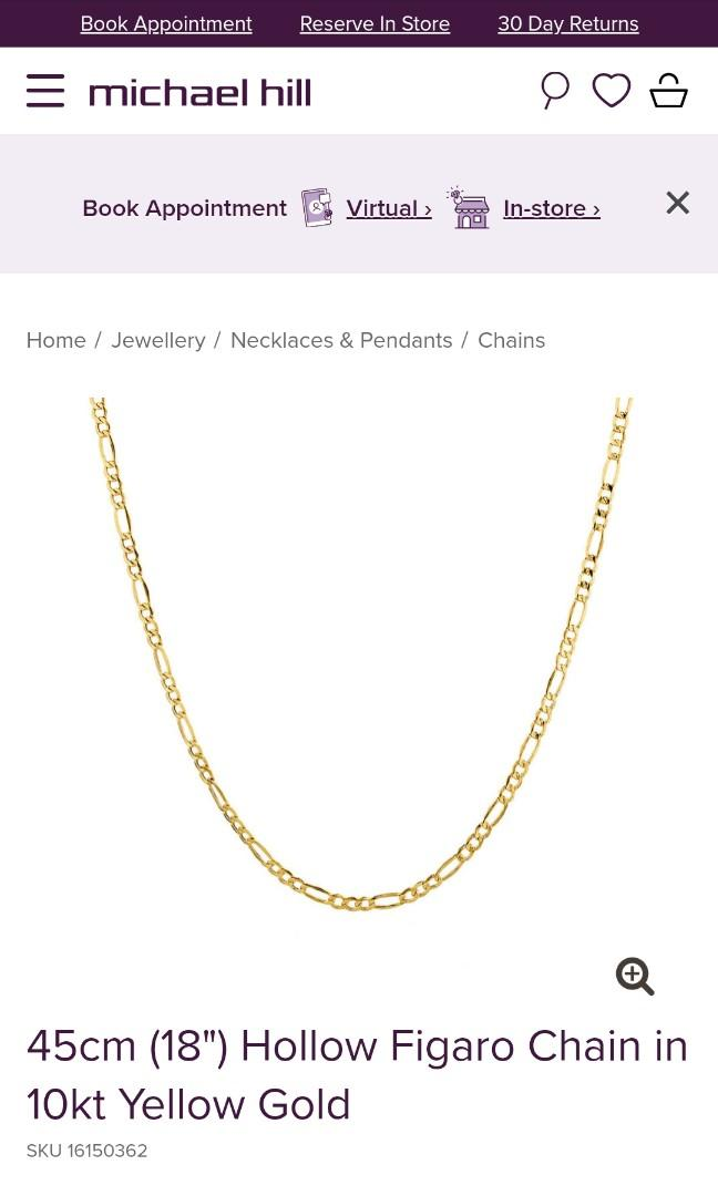 Michael Hill Hollow Figaro Chain in 10kt Gold