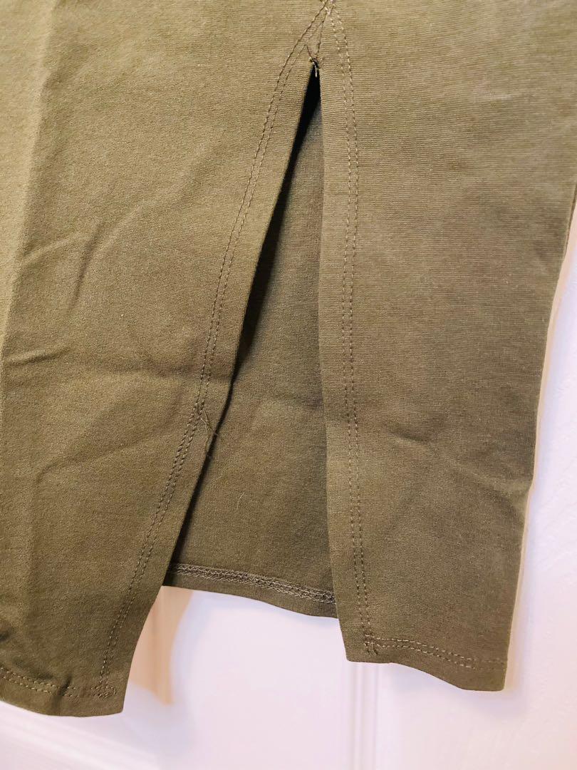 Olive Green Midi Skirt with Slit