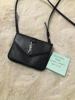 Authentic Saint Laurent Calfskin Monogram Tri Pocket Crossbody Bag