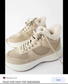 Zara Faux Fur High Top Sneakers