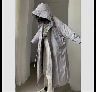 灰韓版鋪棉連帽外套 #魚尾 #M65